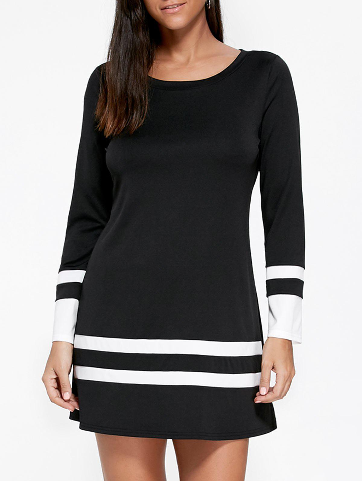 Two Tone Long Sleeve Tee Dress drop shoulder two tone sleeve striped tee