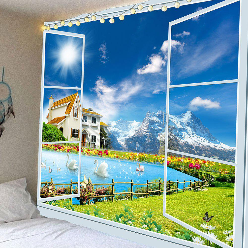Waterproof Window Swans Lake Scenery Wall Tapestry - GREEN W79 INCH * L59 INCH