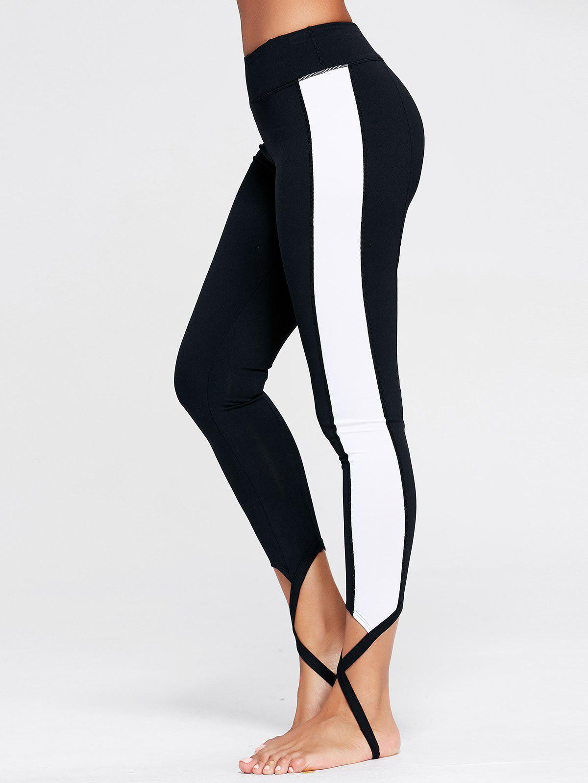 Color Block Sports Stirrup Leggings - BLACK M