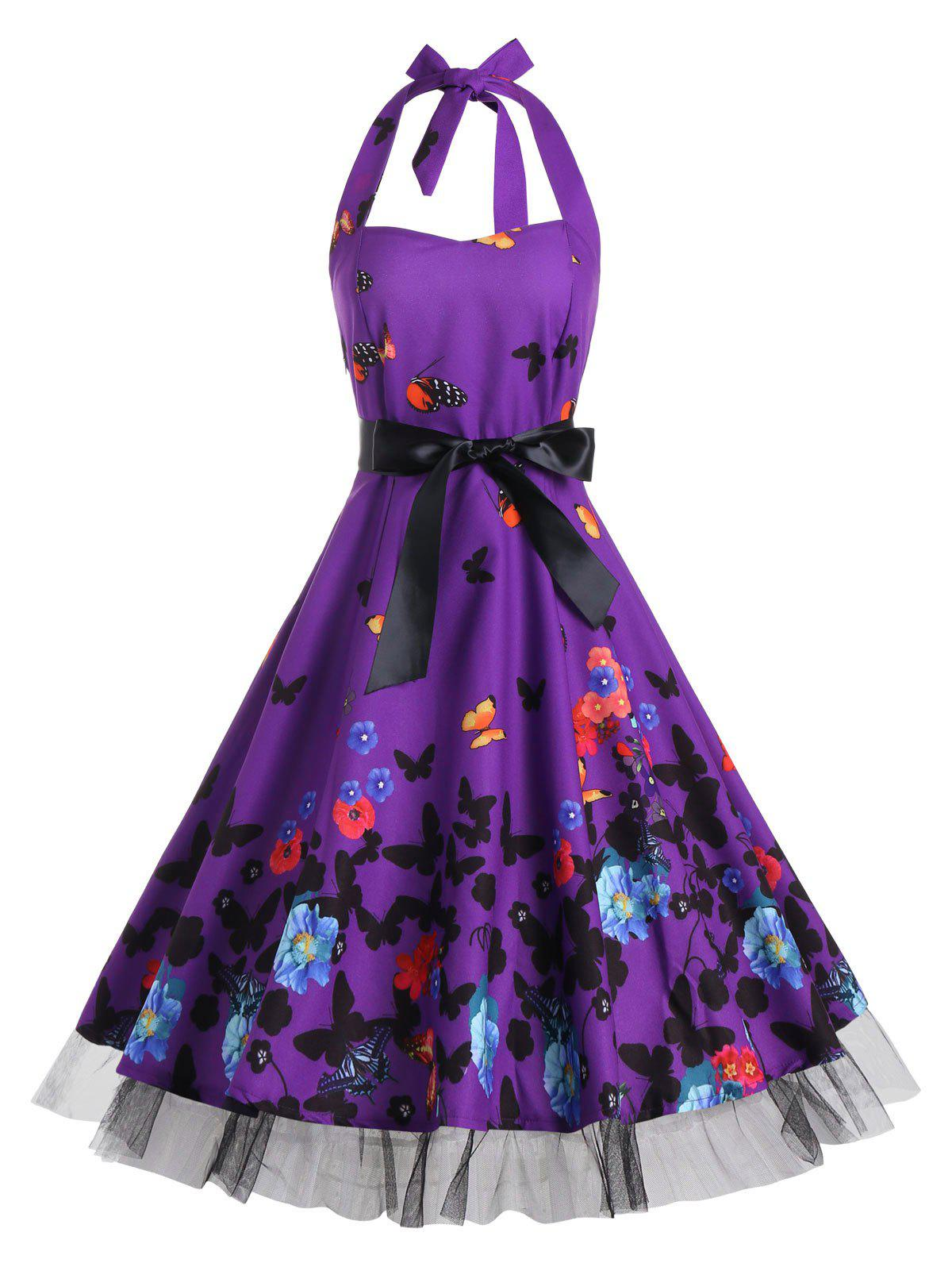 Butterfly Print Halter A Line Vintage Dress - DEEP PURPLE S