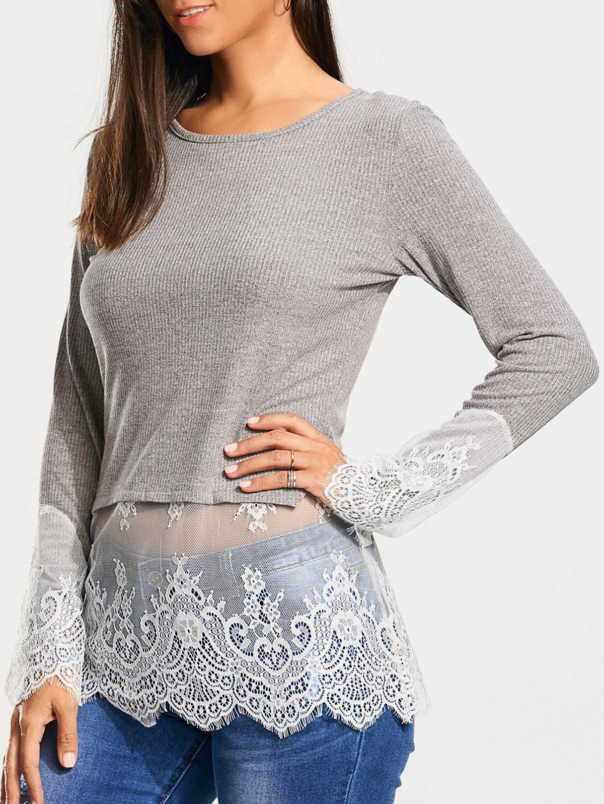Lace Trim Casual Knit Top - GRAY 2XL