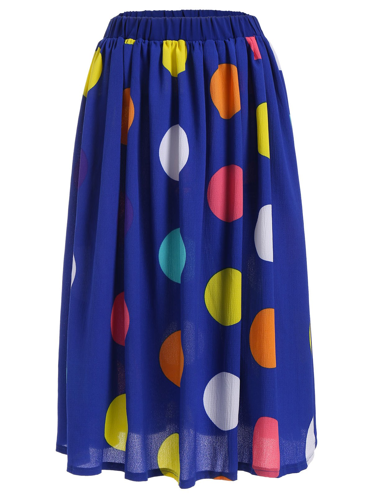 Big Polka Dot Print Elastic Waisted Midi Skirt - BLUE L