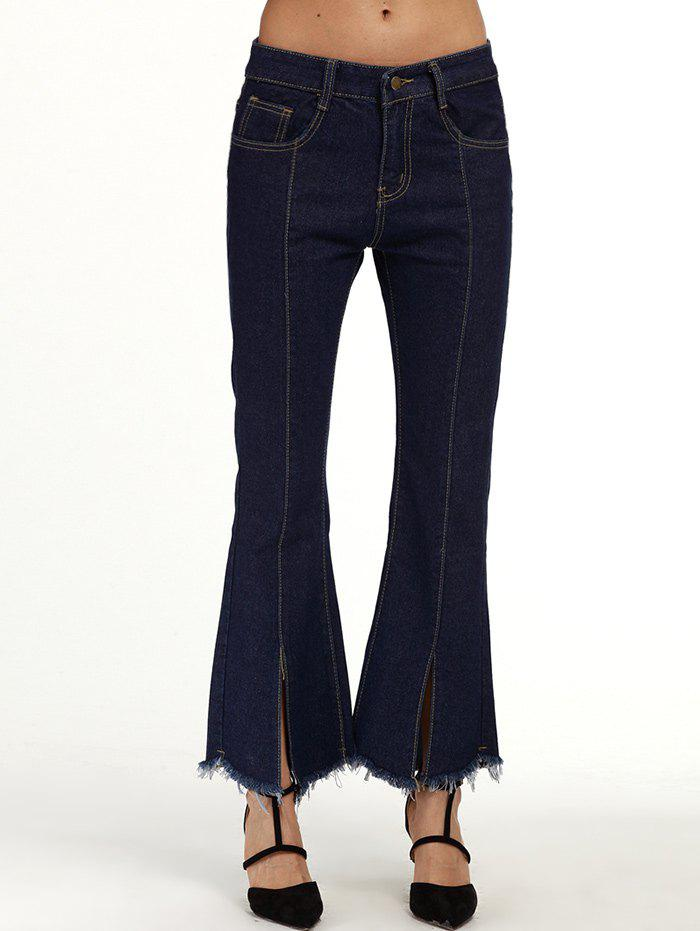 Seamed Frayed Hem Flare Jeans - DEEP BLUE XL