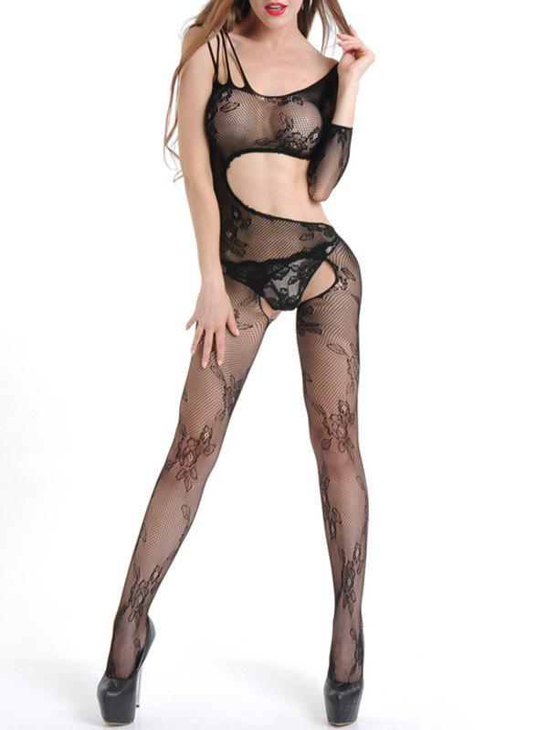 Ripped Cut Out Fishnet Bodystocking - BLACK ONE SIZE