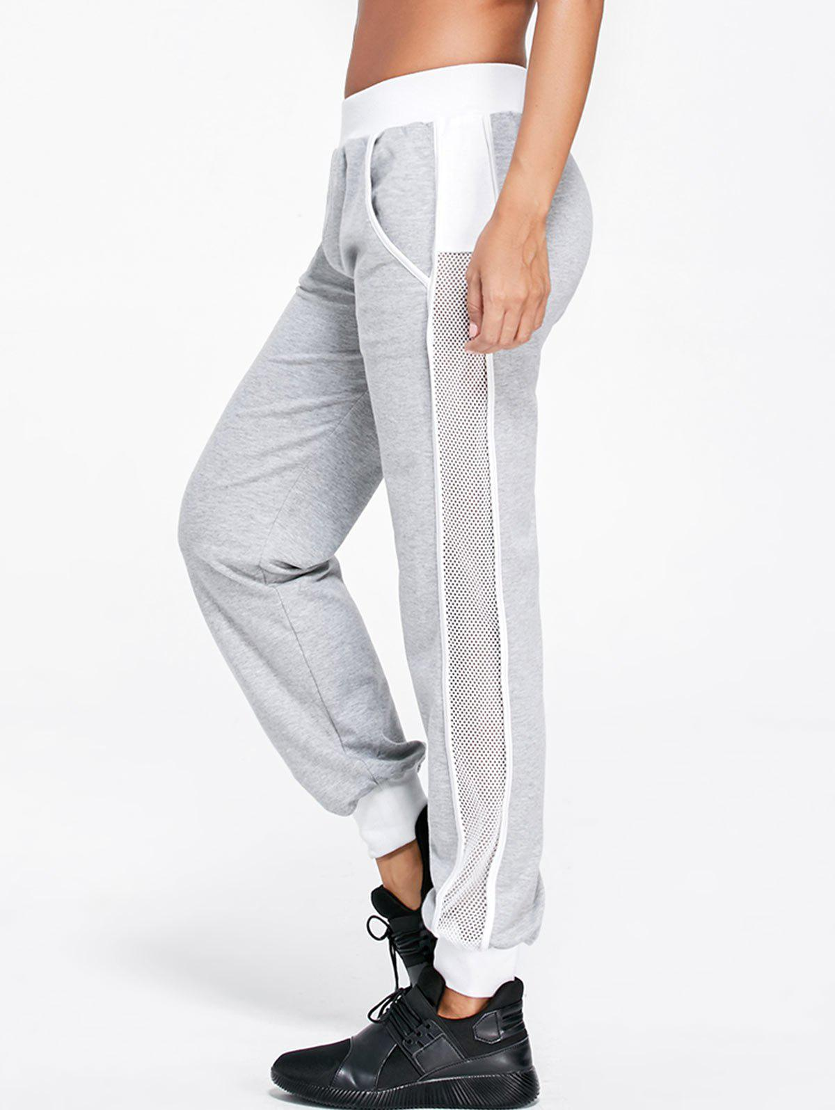 Openwork Insert Ankle Banded Pants - LIGHT GRAY L