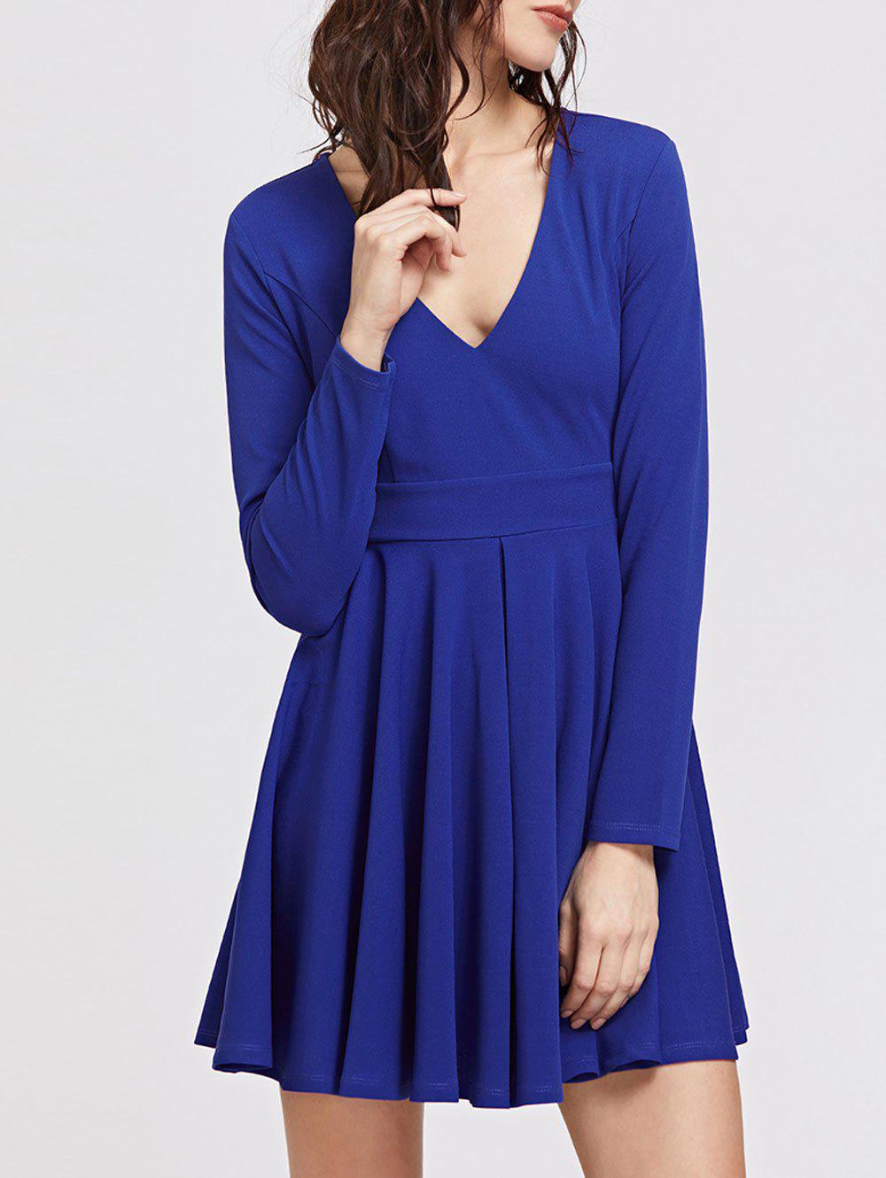 V Neck Long Sleeve Mini Skater Dress - BLUE L
