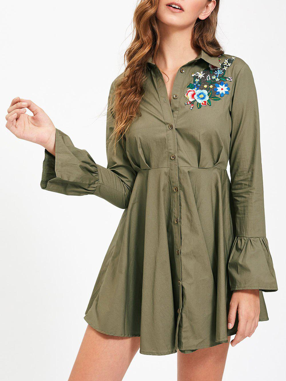 Embroidery Flare Sleeve Button Up Shirt Dress - ARMY GREEN L