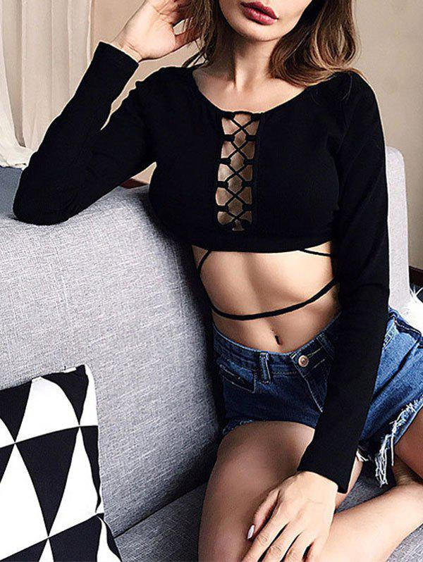 Long Sleeve Lattice Crop Top - BLACK L