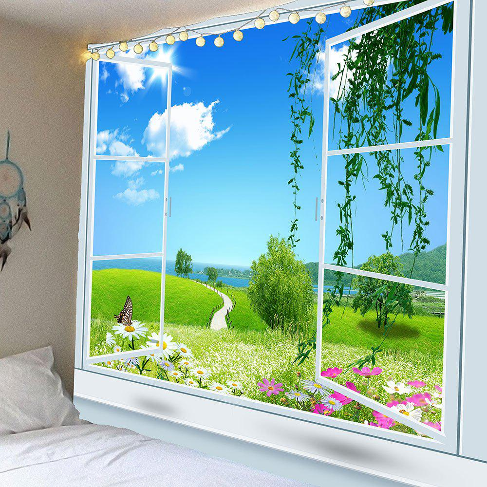 Window Butterfly Floral Pathway Waterproof Wall Tapestry - GREEN W59 INCH * L51 INCH