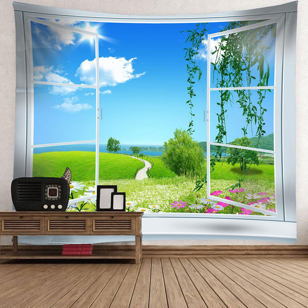 Window Butterfly Floral Pathway Waterproof Wall Tapestry - GREEN W79 INCH * L71 INCH