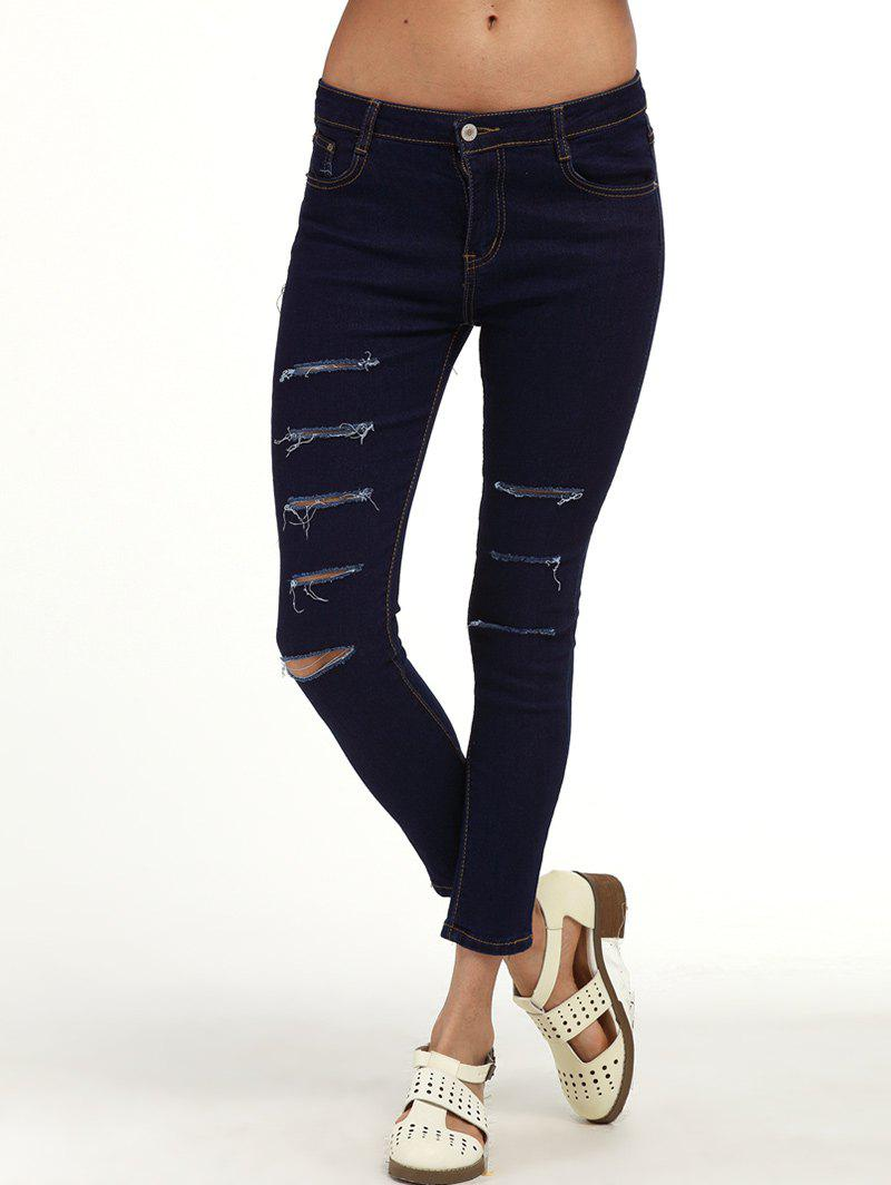 Ripped Ankle Cigarette Jeans - PURPLISH BLUE M