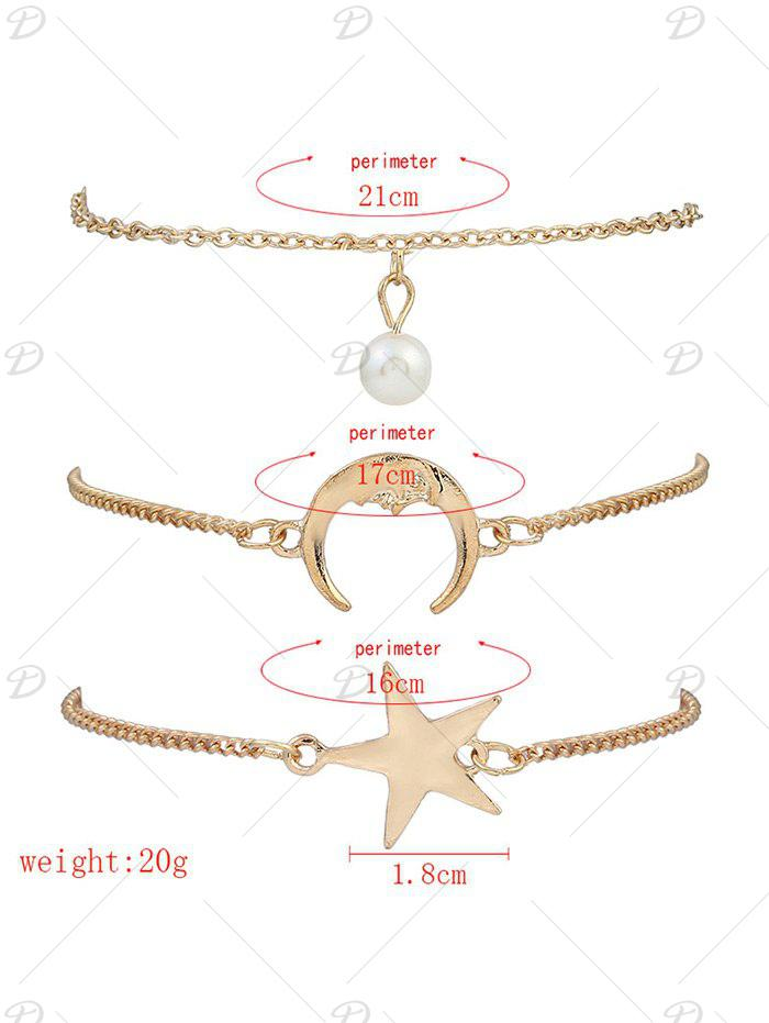 3 Pieces Star Moon Bracelets - GOLDEN