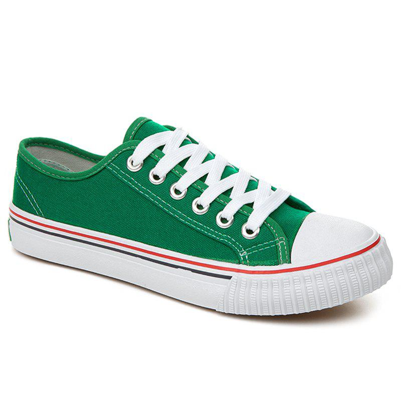 Round Toe Canvas Sneakers - GREEN 38