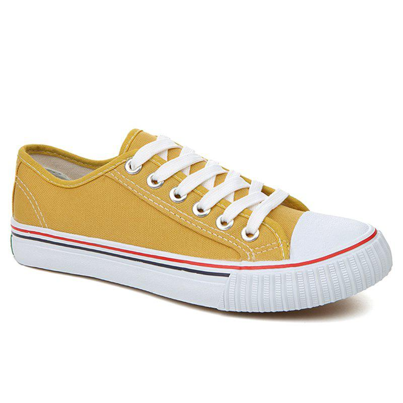 Round Toe Canvas Sneakers - YELLOW 38