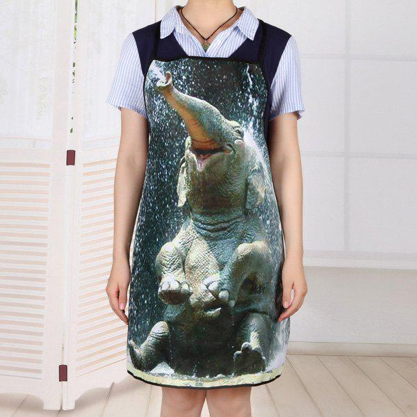 Elephant Bathing Print Waterproof Kitchen Apron - BLACK GREY 80*70CM