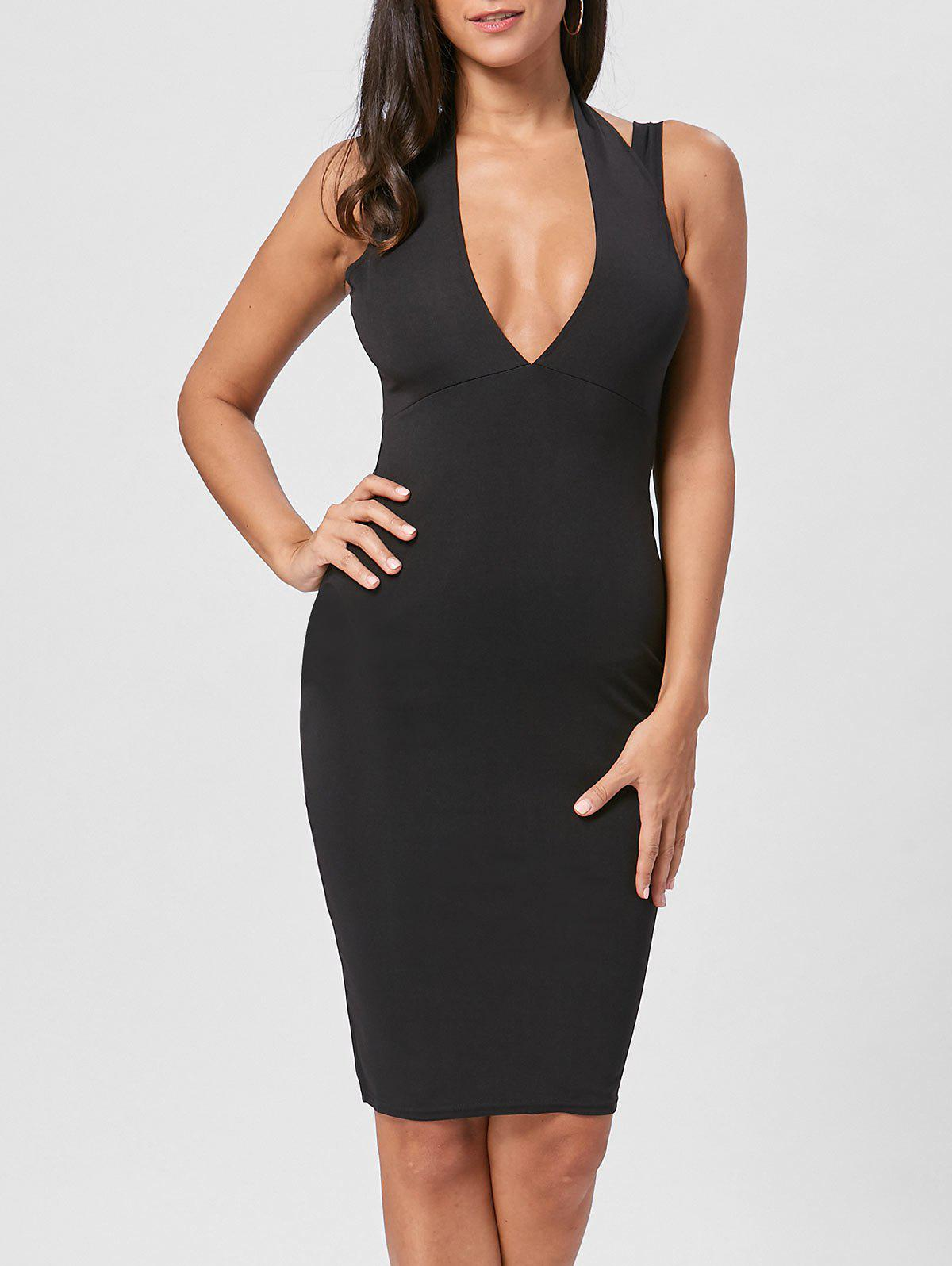 Plunging Neck Open Back Dress - BLACK M