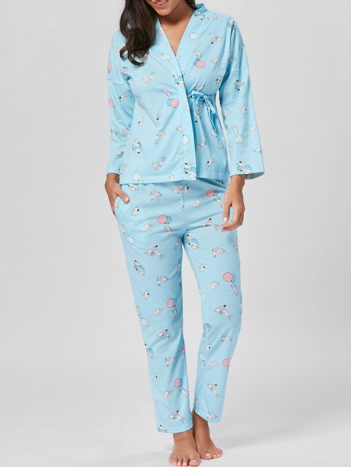 Wrap Printed Cotton Pajamas Set - LIGHT BLUE XL