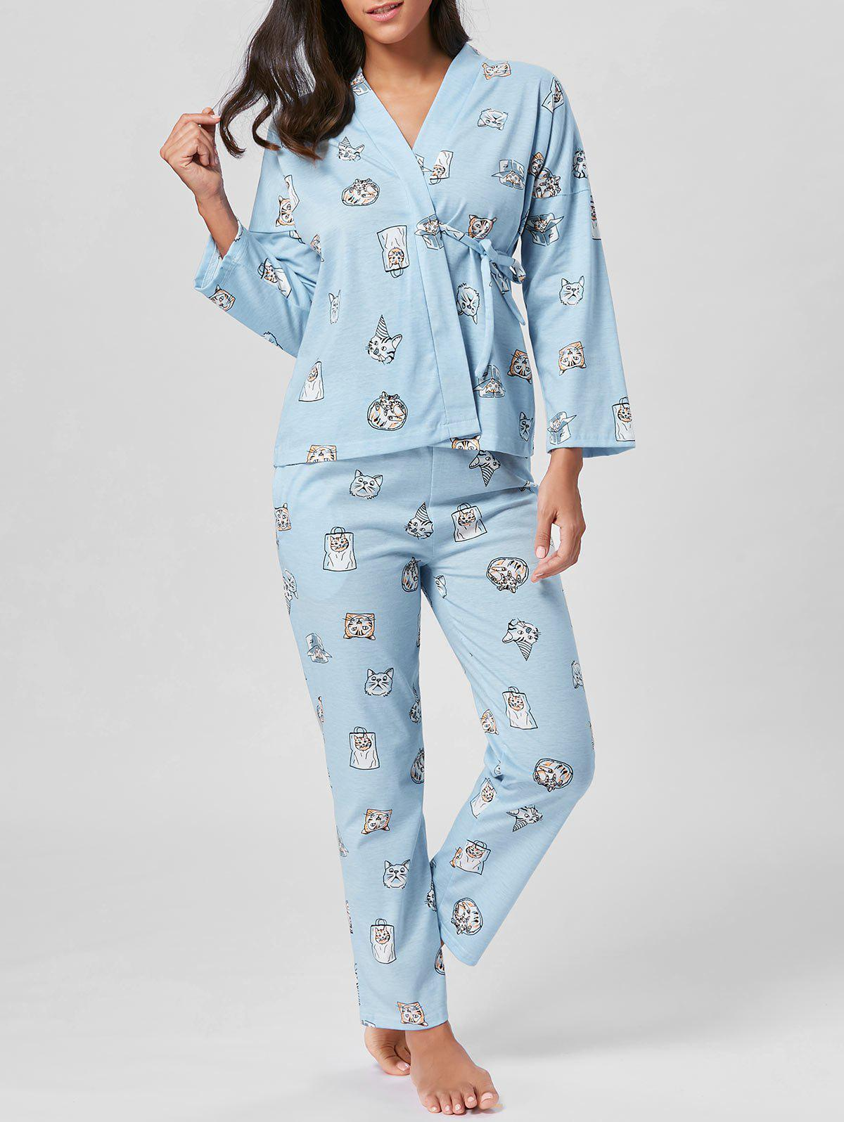 Cat Print Cotton Wrap PJ Set - LIGHT BLUE L