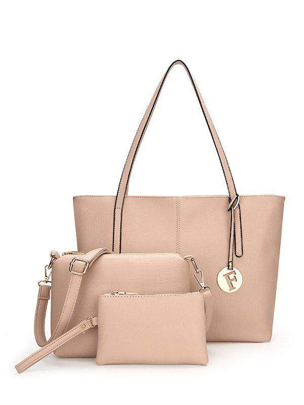 PU Leather 3 Pieces Shoulder Bag Set - APRICOT