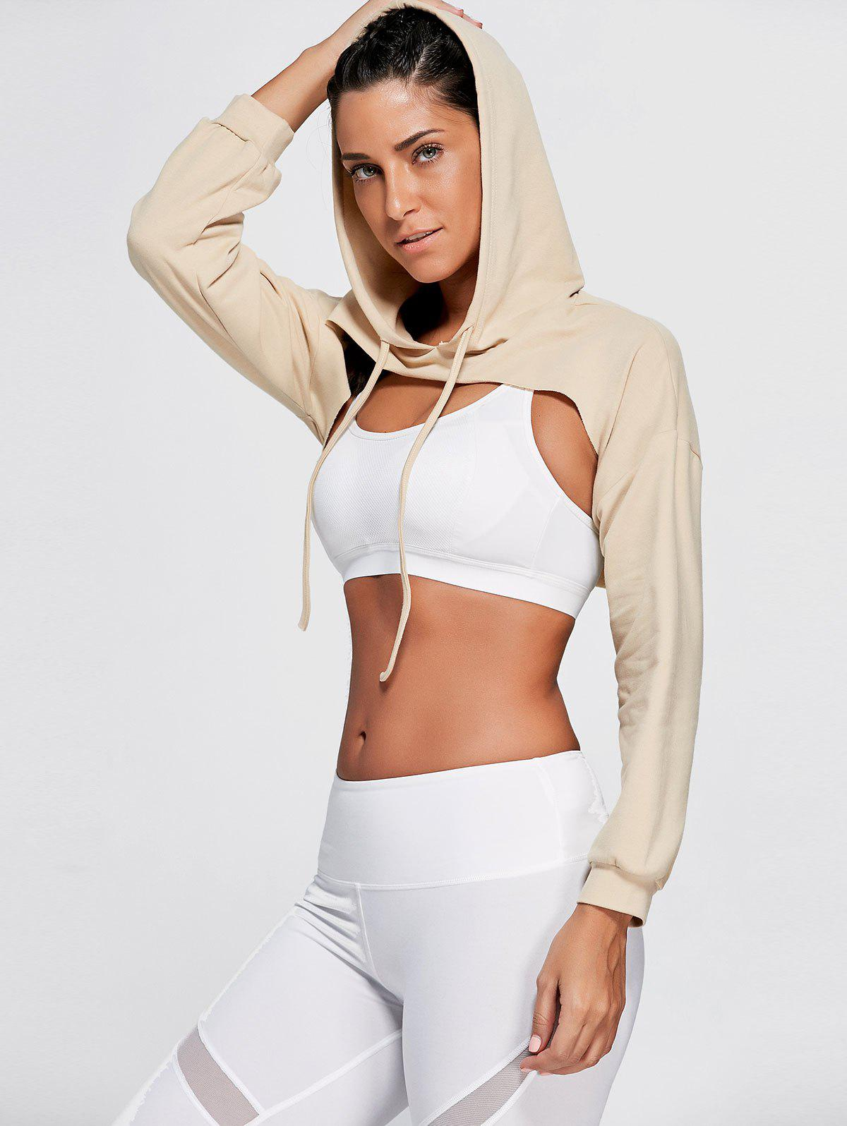 Long Sleeve Open Front Sports Cropped Hoodie - KHAKI ONE SIZE