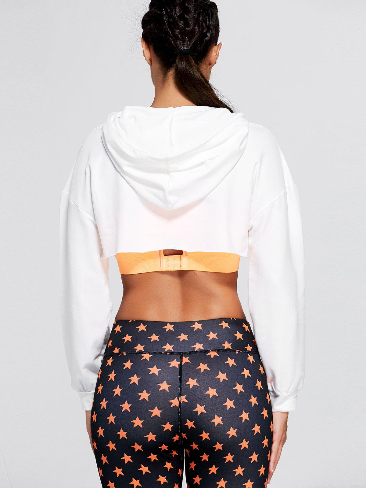 Long Sleeve Open Front Sports Cropped Hoodie - WHITE ONE SIZE