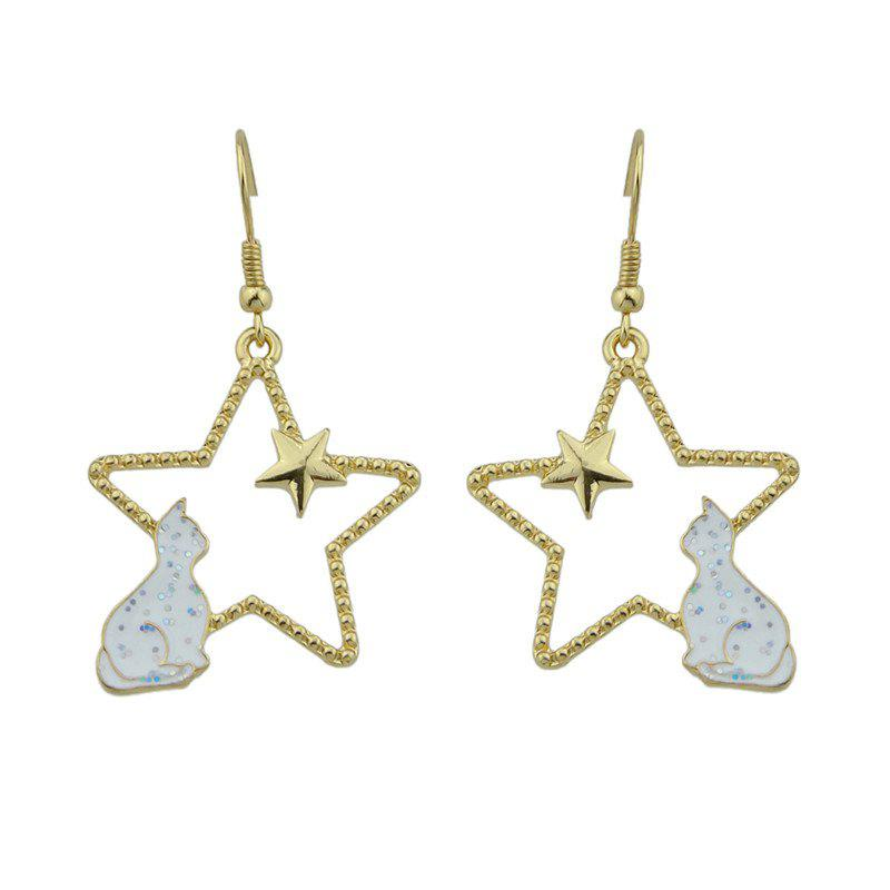 Star Tiny Cat Cute Hook Earrings - Blanc