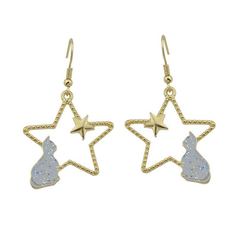 Star Tiny Cat Cute Hook Earrings - Gris