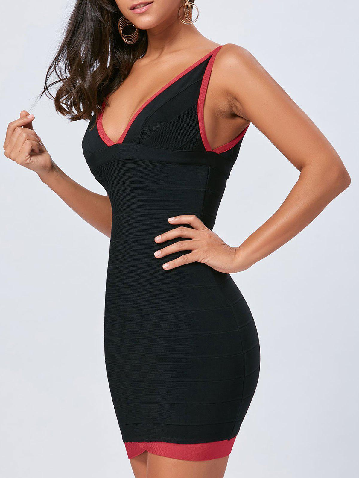 Color Block V Neck Bodycon Bandage Dress - BLACK S