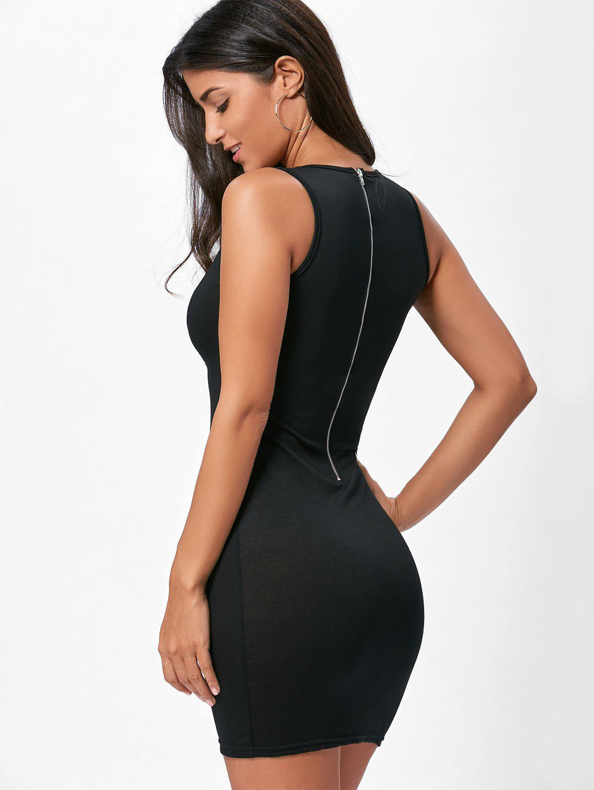 Back Zip Plunge Lace Up Bodycon Dress - BLACK S