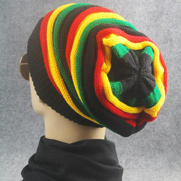 Rainbow Stripe Knitted Fold Beanie Hat - COLORFUL