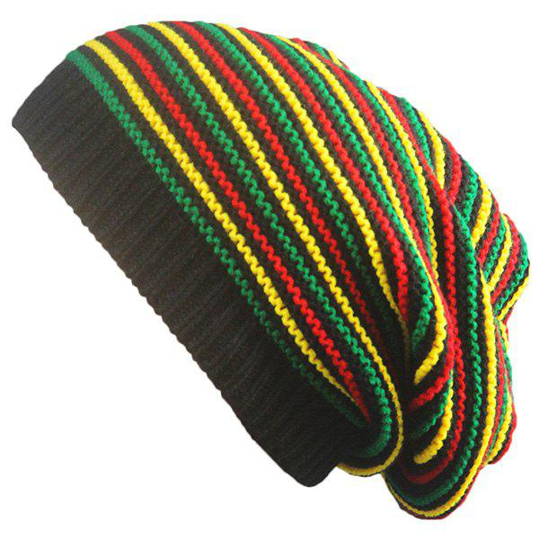 Striped Iridescence Knitted Folding Beanie striped knitted warm beanie hat