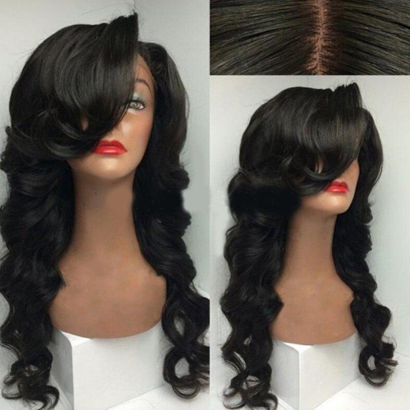 Deep Side Part Loose Wave Long Synthetic Wig - NATURAL BLACK