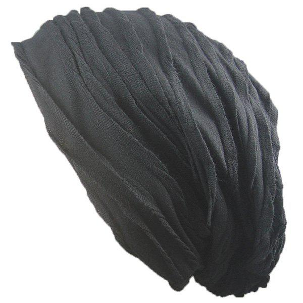 Knitting Folding Layered Warm Beanie - Noir