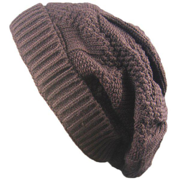 Folding Trangle Striped Knitting Beanie Hat - COFFEE
