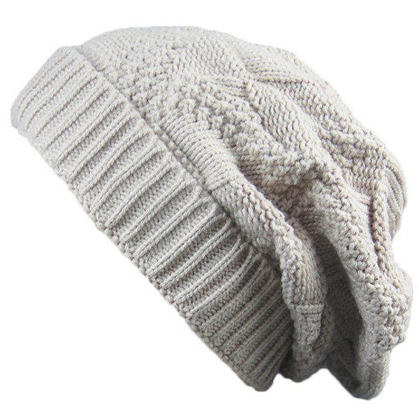 Folding Trangle Striped Knitting Beanie Hat tiny rivet embellished knitting beanie