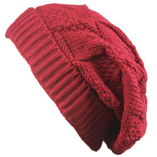 Folding Trangle Striped Knitting Beanie Hat - RED