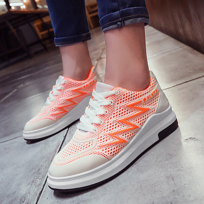 Breathable Faux Leather Panel Athletic Shoes - BRIGHT ORANGE 37