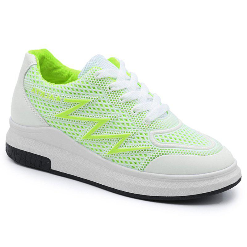 Breathable Faux Leather Panel Athletic Shoes - NEON GREEN 39