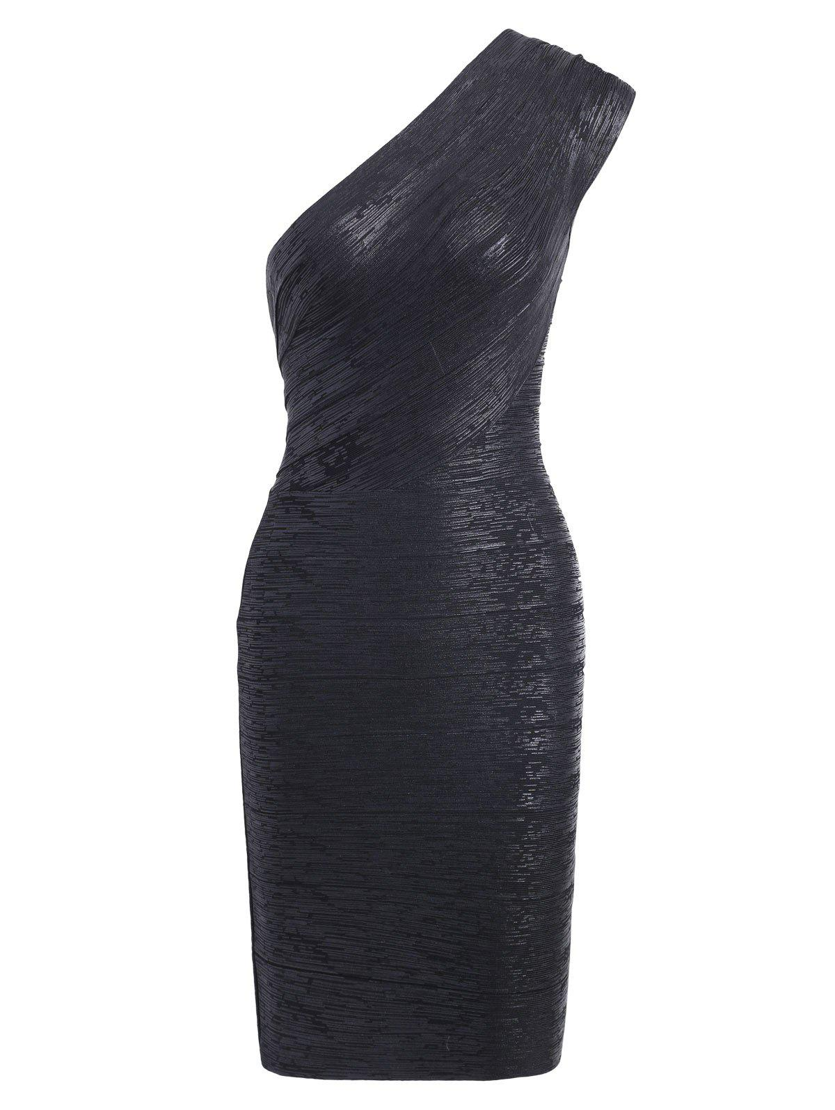 Bronzing One Shoulder Bodycon Bandage Dress - BLACK S
