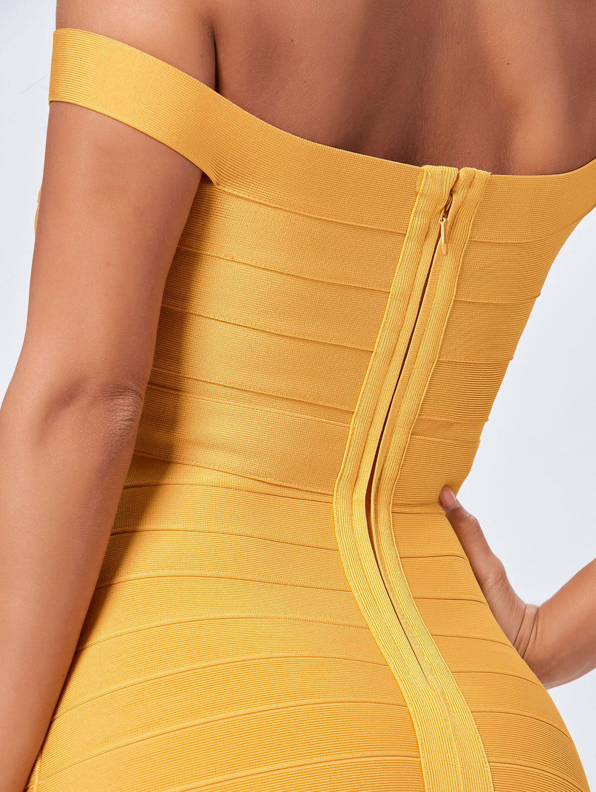 Off The Shoulder Night Out Bandage Dress - Jaune S
