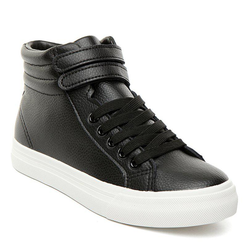 High Top Stitching Athletic Shoes - BLACK 40