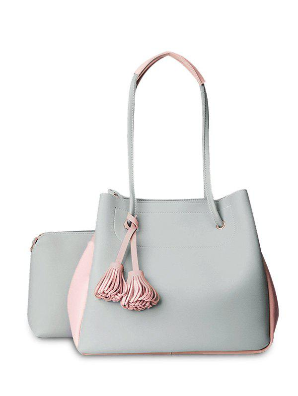 Faux Leather Tassels Shoulder Bag Set - LIGHT GRAY