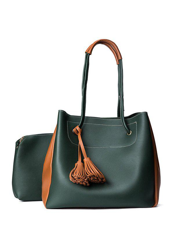 Faux Leather Tassels Shoulder Bag Set - BLACKISH GREEN
