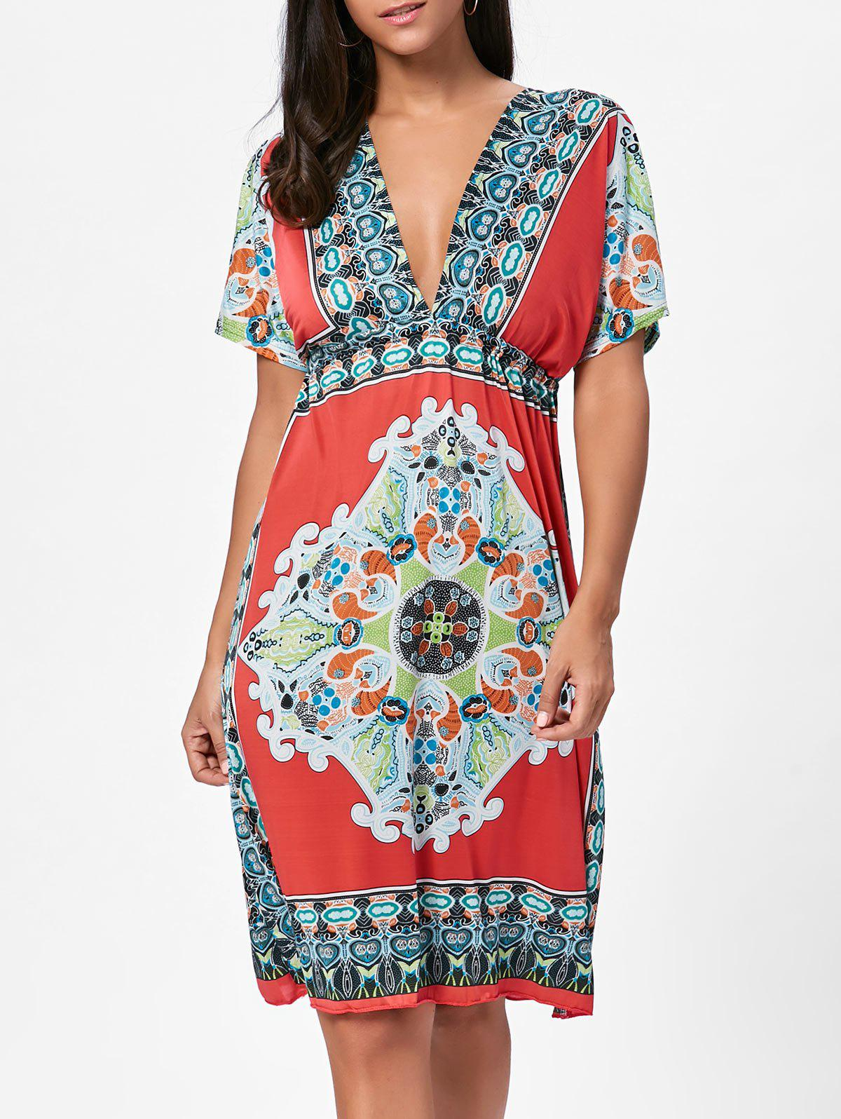 Aztec Print Plunge Backless Shift Dress - RED ONE SIZE