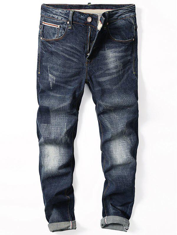 Straight Leg Zip Fly Cuffed Jeans - [