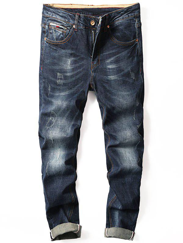 Straight Leg Zipper Fly Cuffed Jeans - DENIM BLUE 34
