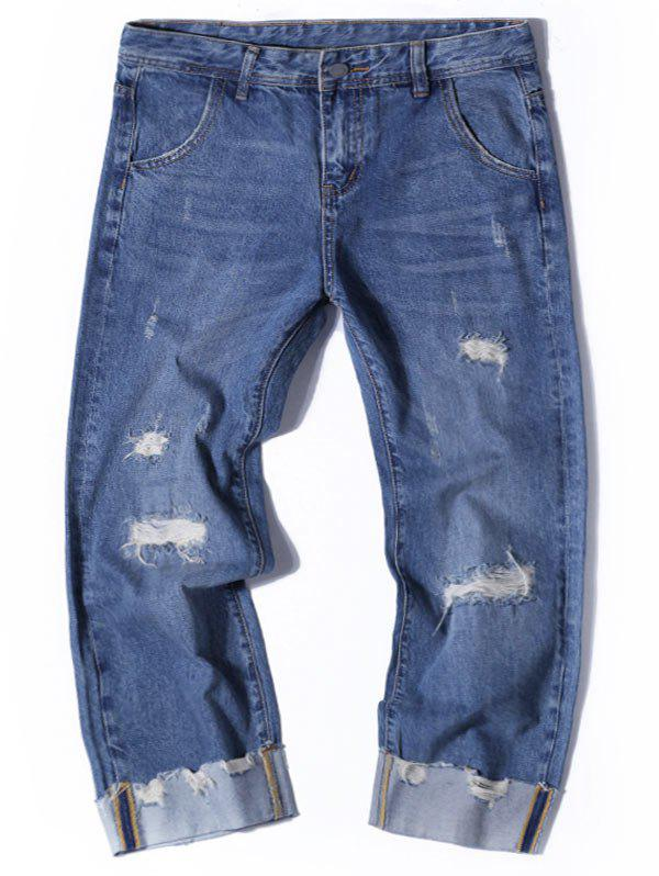 Wide Leg Destroyed Nine Minutes of Jeans - Denim Bleu 32