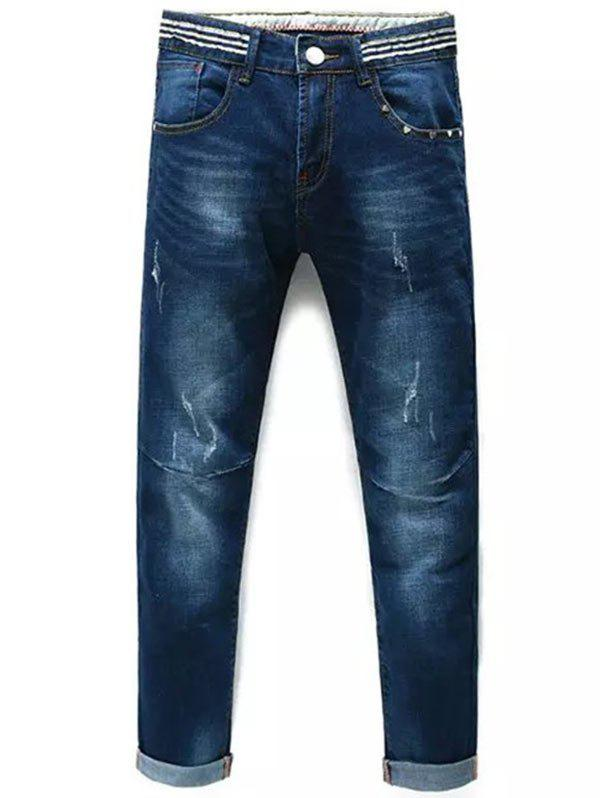 Heart Rivet Cuffed Taper Fit Jeans - DENIM BLUE 36