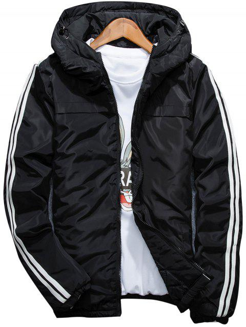 Stripe Hooded Zip Up Down Jacket - BLACK XL