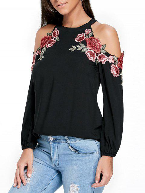 Embroidery Applique Cold Shoulder Top - BLACK M